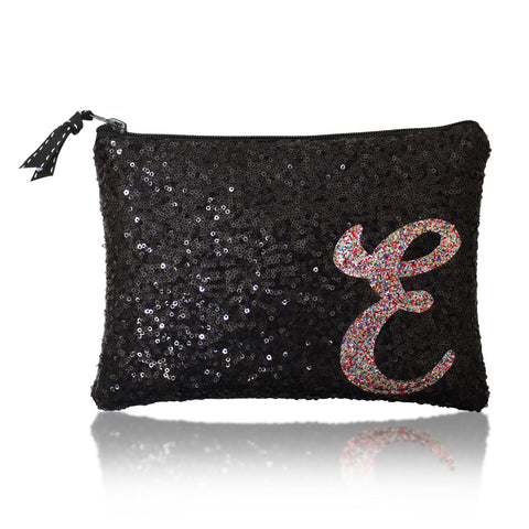 Black sequin zip top personalised initial clutch