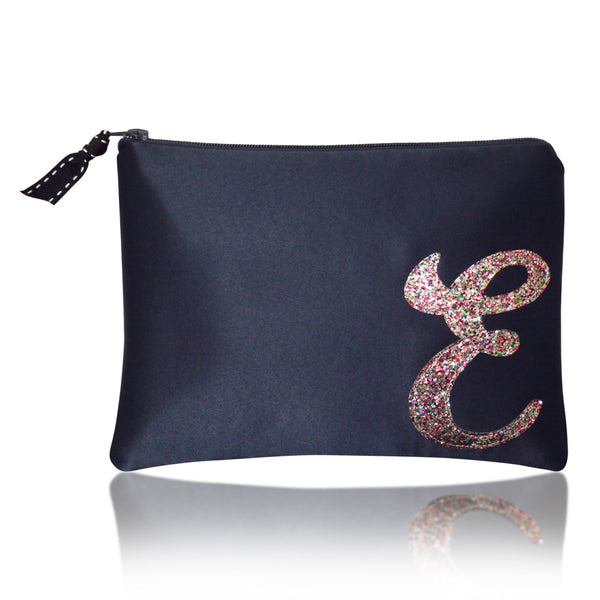 Navy satin zip top personalised initial clutch