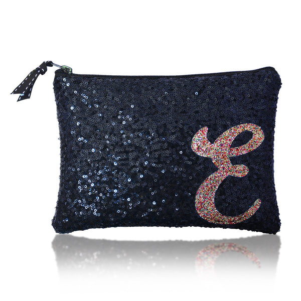 Navy personalised sequin initial zip top clutch