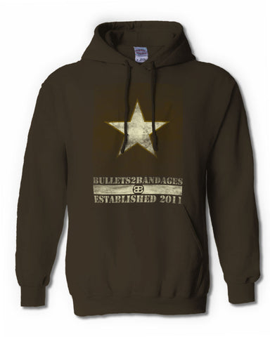 Bullets2Bandages - Army Star Hoodie
