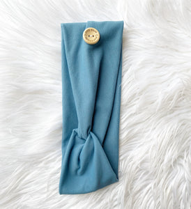Knotted Button Headband- dusty blue best seller!