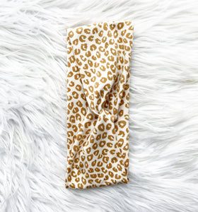 Knotted Headband- tan leopard