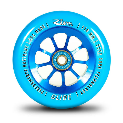River Wheel Co. Glide 110mm Sapphire Blue on Blue