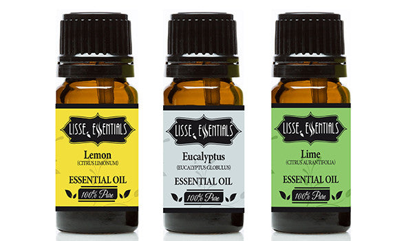 Set of 3 - 10 ml Bottles Of Essential Oil Lemon, Eucalyptus and Lime