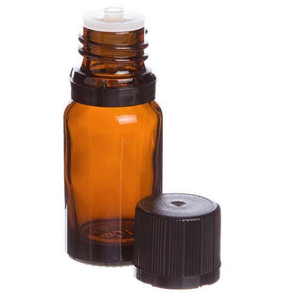 Lisse Essentials 10 ml Amber Glass Essential Oil Bottle with Orifice Reducer and Cap