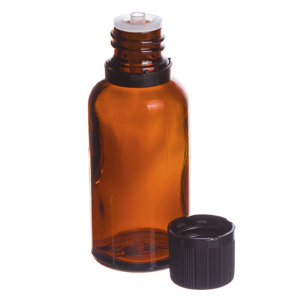 Lisse Essentials 30 ml Amber Glass Essential Oil Bottle with Orifice Reducer and Cap