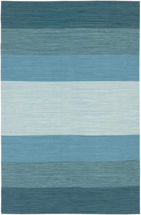 Area Rugs - Cotton - Dhurrie Rugs Contemporary Cotton Area Rug - Blue Stripe