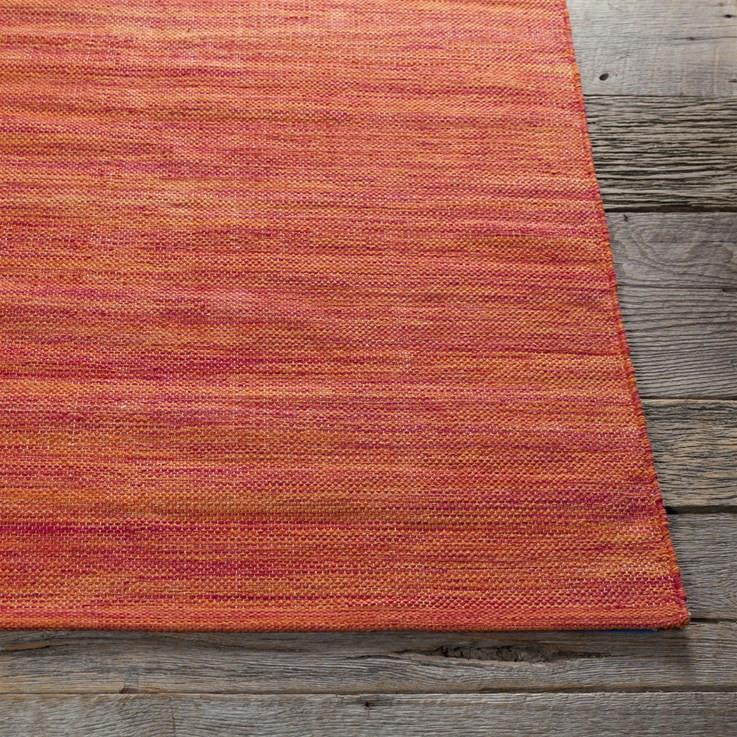 Area Rugs - Cotton - Dhurrie Rugs Contemporary Cotton Area Rug - Damask Orange