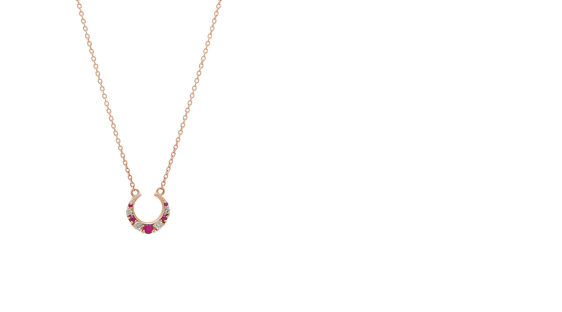 Stone Fox Bride x Iconery Crescent Diamond and Ruby Necklace
