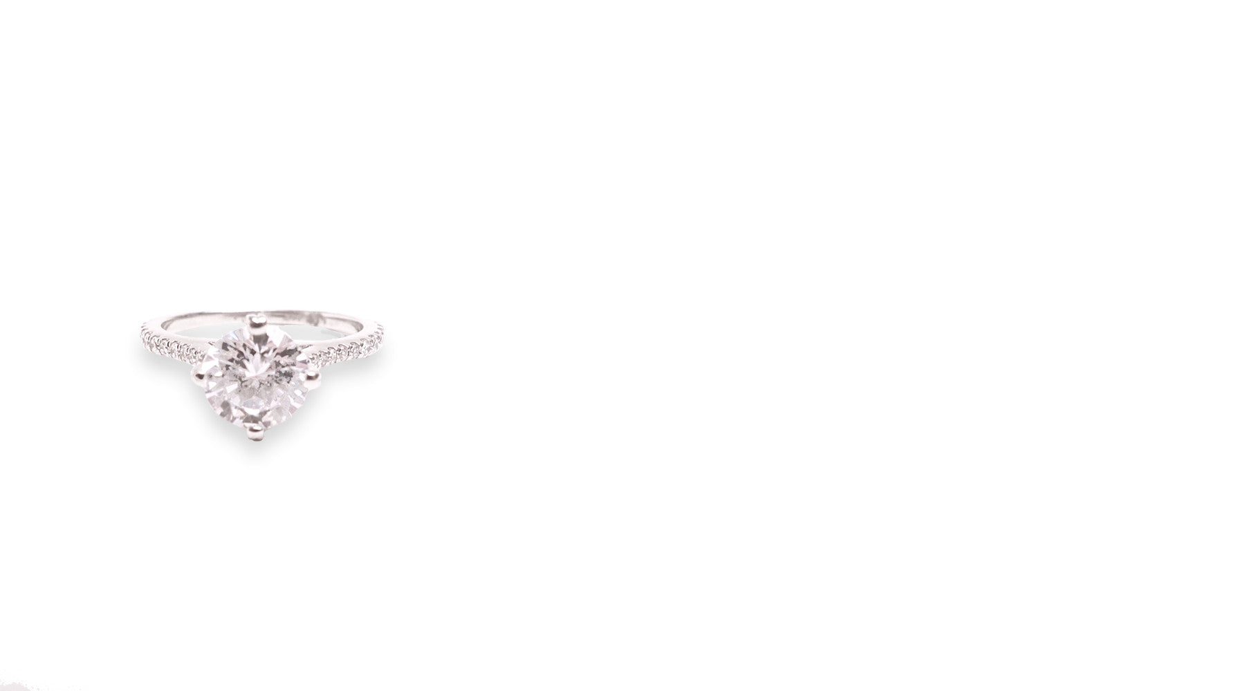 Four Prong Solitaire Engagement Ring with Diamond Pave