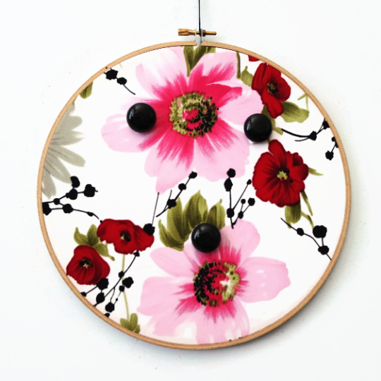 Asian Inspired Floral Jewelry Display For Wall