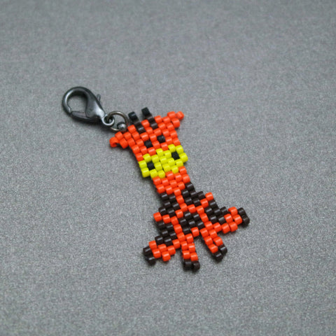 Baby Giraffe, Hand Beaded Charm With Lobster Clasp