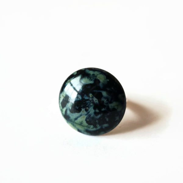 Large Marbled Gray And Black Statement Ring