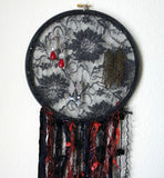 Black Lace And Orange Earring Hanger And Decor With Spider Accent
