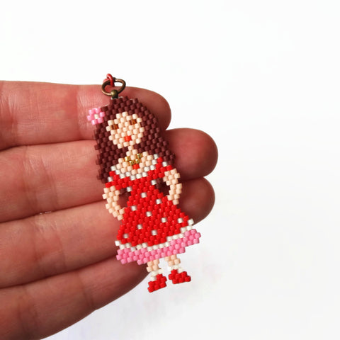 Pink And Red Doll Charm With Clasp