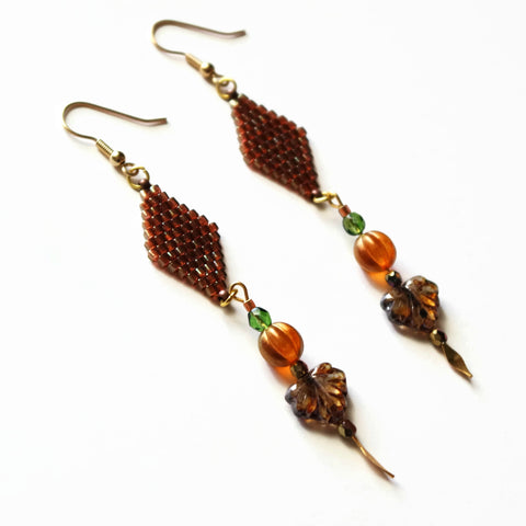 Topaz Gold Luster Color Autumn Leaves Long Statement Earrings