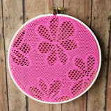 Hot Pink Floral Earring Hanger With White Wood Hoop