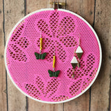 Hot Pink Floral And White Small Earring Hanger And Wall Decor