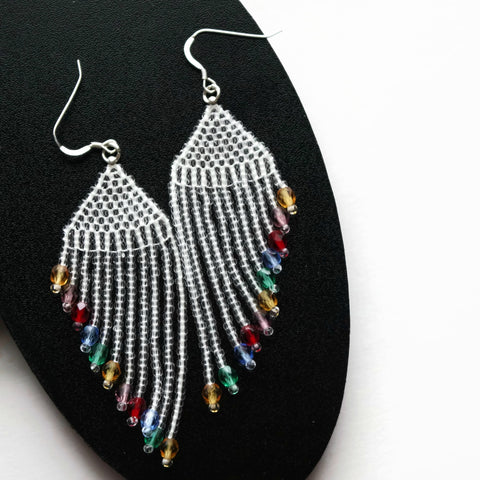 Colorful Glass And Crystal Beaded Earrings