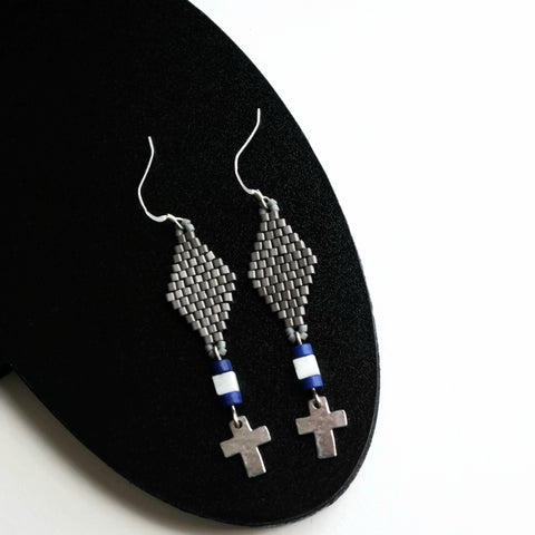 Beaded Metallic Pewter Plated Cross Dangle Earrings