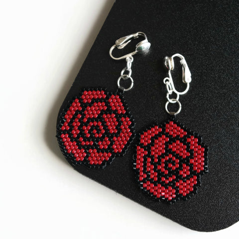 Red Black Rose Beaded Clip-on Earrings