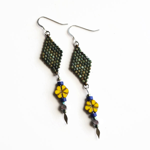 Long Summer Flower Earrings