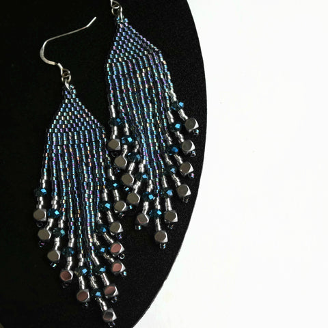 Shiny Long Beaded Statement Earrings