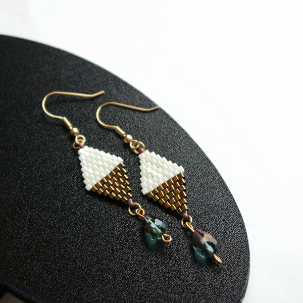 Off White And Copper Color Beaded Dangle Earrings