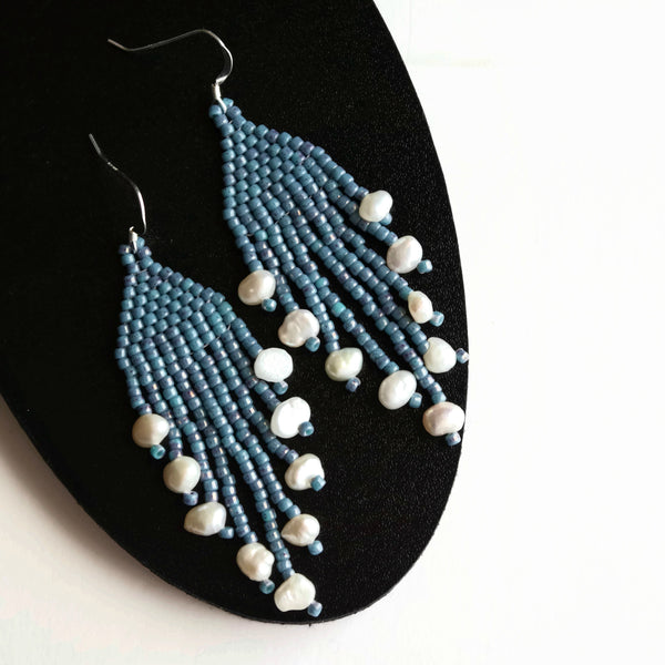 Blue Dangle Earrings With Cultured Freshwater Pearl Nuggets