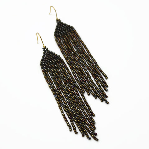 Long Beaded Brown Iris Earrings