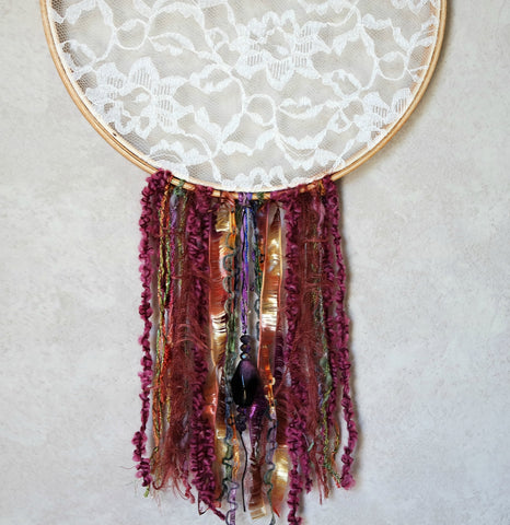 Plum And Rust Colored Earring Hanger And Wall Decor