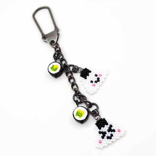 Rice Ball Charm With Ceramic Mini Sushi Bead Accent
