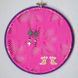 Hot Pink And Purple 80s Style Earring Hanger And Wall Decor