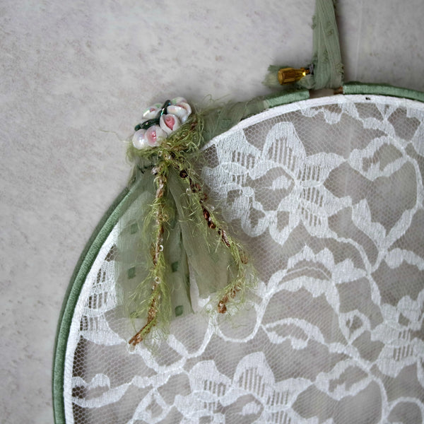 Sage Green Earring Hanger And Wall Decor With Ceramic Flower Accent