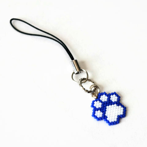Blue And White Beaded Cat Paw Charm