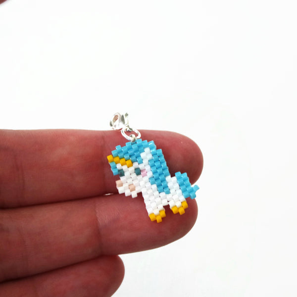 Bright Blue Beaded Unicorn Charm With Lobster Clasp