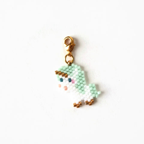 Mint Green Beaded Unicorn Charm With Lobster Clasp