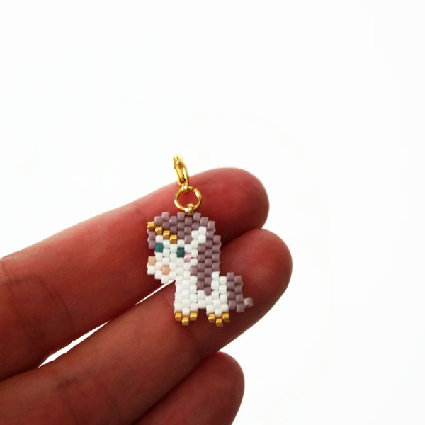 Purple Beaded Unicorn Charm With Lobster Clasp