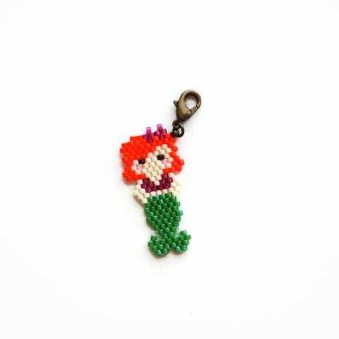 Small Beaded Mermaid Charm In Orange And Green With Lobster Clasp Closure