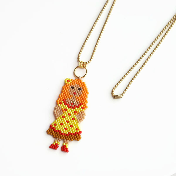 Bright Hand Beaded Charm Doll On Long Ball Chain, 35 Inches