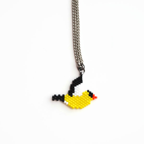 Gold Finch Beaded Necklace For Bird Lovers And Watchers