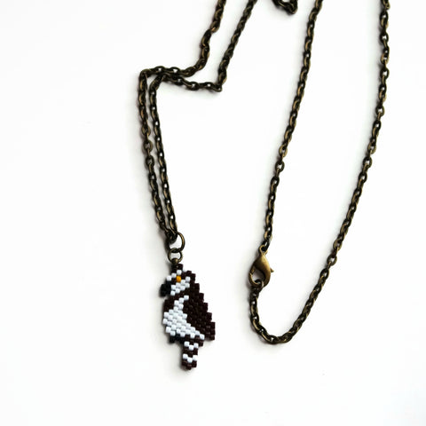 Osprey Beaded Long Necklace For Bird Lovers And Watchers, 24 Inch Chain