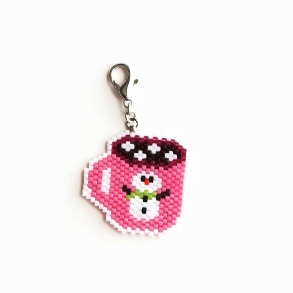 Snowman And Cocoa Beaded Pink Cup Charm