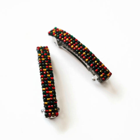 Small Christmas Blend Beaded French Barrettes, 50mm