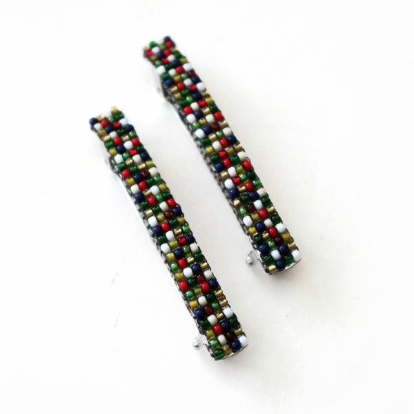 Small Christmas Themed Beaded French Barrettes, 60mm
