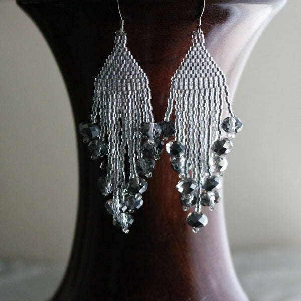 Long Silver Beaded Shiny Dangle Earrings, New Year's Eve And Holiday Parties