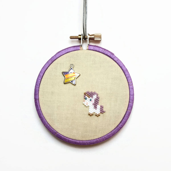 Mini Purple Unicorn Wall Hanging With Star Accent, 3 Inch Decor
