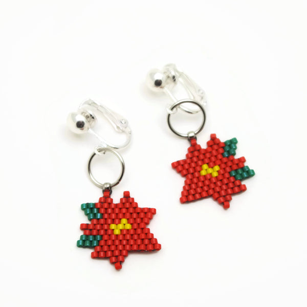 Winter Poinsettia Beaded Clip On Earrings For Non Pierced Ears