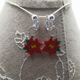 Winter Poinsettia Beaded Clip On Earrings