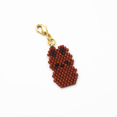 Chocolate Color Beaded Bunny Charm